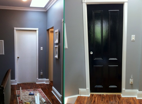 panel door before and after updated interior doors. Black Bedroom Furniture Sets. Home Design Ideas