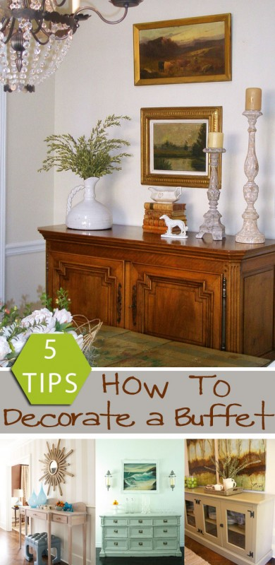 Remodelaholic how to decorate a buffet for Dining room buffet table decorating ideas