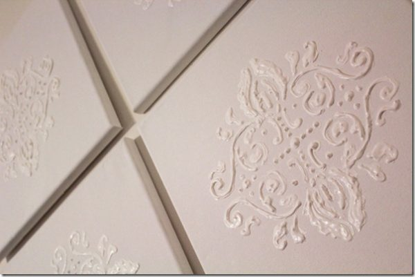 DIY damask wall art Puffy paint wall art