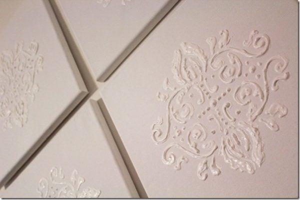 DIY damask wall art Puffy paint wall art