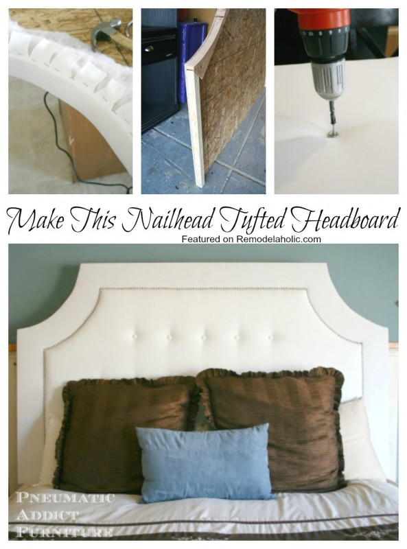 How to make this nail head tufted Headboard, #tutorial #bedroom #diy featured on Remodelaholic,