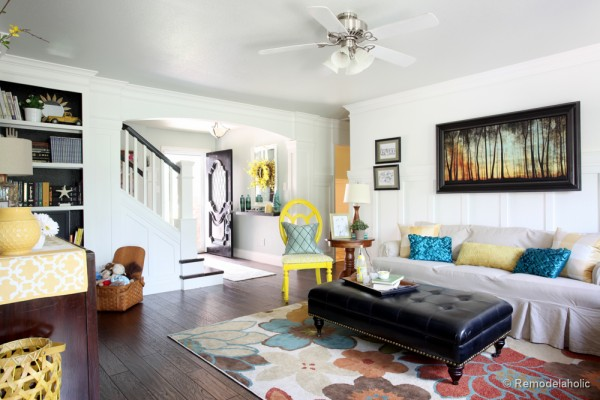 Remodelaholic living room reveal finally - Pictures of columns in living room ...
