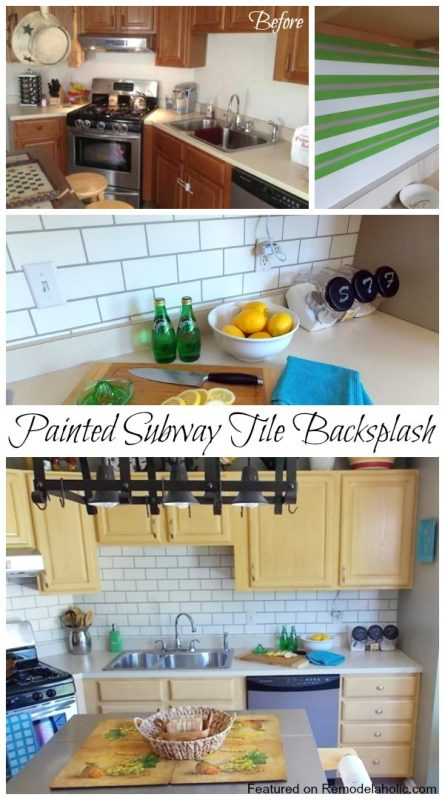 Painted Subway Tile Backsplash Tutorial featured on Remodelaholic