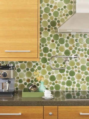 recycled glass green backsplash - Cool Kitchen Backsplash Ideas