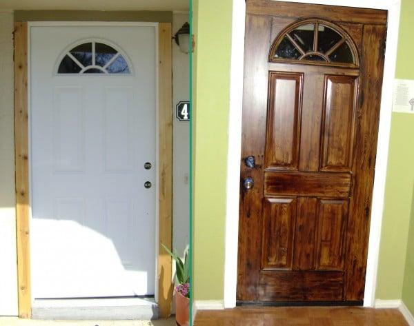 Steel door painted to look like wood faux wood painted door
