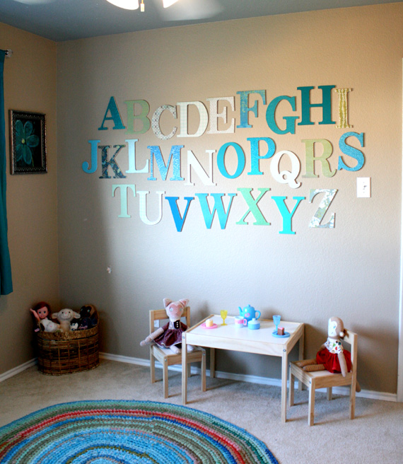 DIY  alphabet wall DIY art projects for kids room