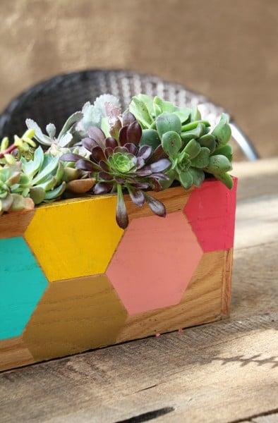 build and stencil a hexagon box planter, Pepper Design Blog
