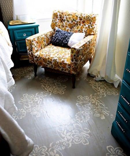diy stenciled floor, Ashley on Design Sponge