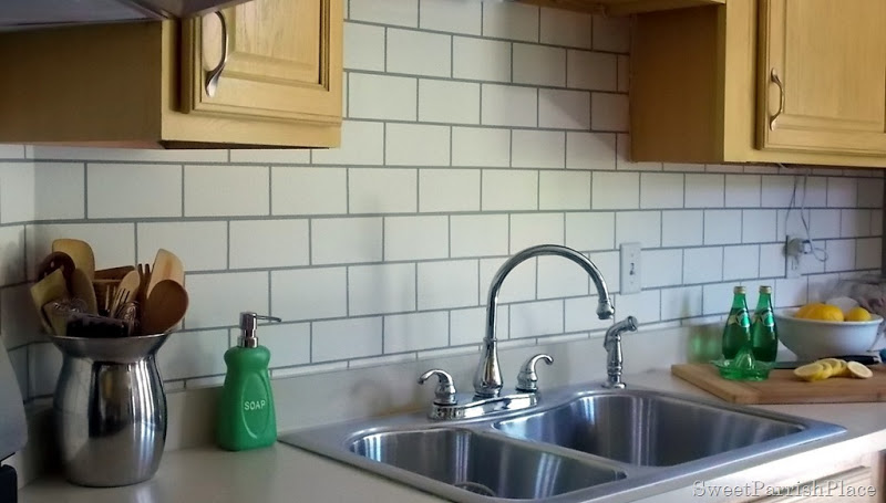Kitchen Backsplash Subway Tile painted subway tile backsplash | remodelaholic