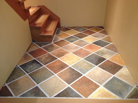 How to paint a concrete floor remodelaholic for Fake tile floor