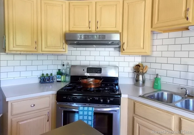 kitchen backsplash faux painted subway tile - Diy Kitchen Backsplash Tile