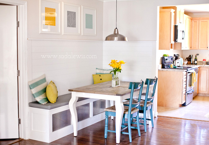 Get this look sunny corner banquette remodelaholic Corner kitchen bench