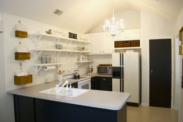 Kitchen Remodel Black Base Cabinets Bead Baord Backsplash Open Shelves