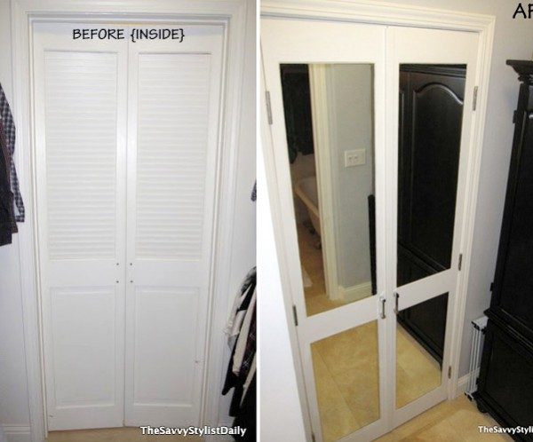 These dated louvered doors were updated with mirrors , perfect for a