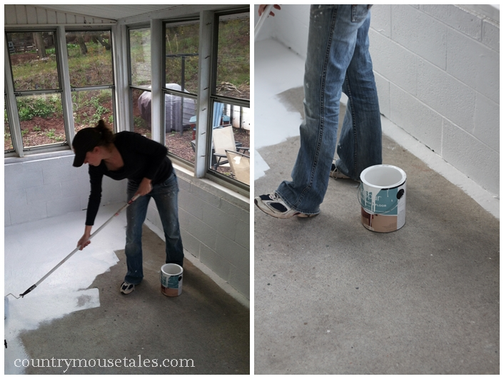 How to paint a concrete floor remodelaholic for How to degrease concrete floor