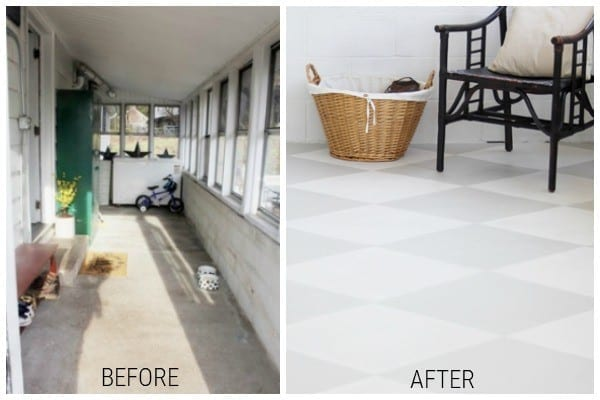 Painted Concrete mudroom Floor Before And After