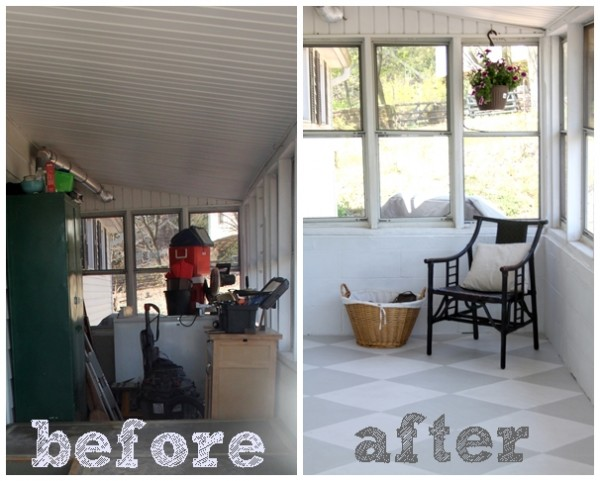 painted concrete floor, before and after