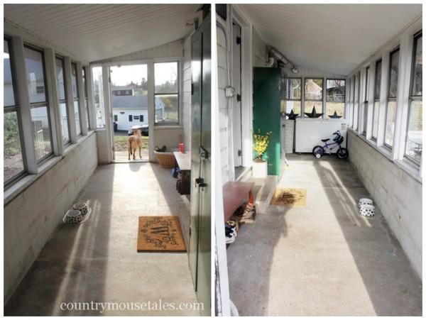 painted mudroom floor before