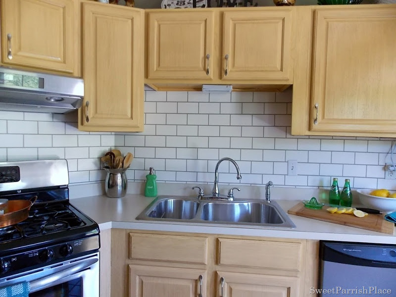 Paint Backsplash Tile Painted Subway Tile Backsplash  Remodelaholic