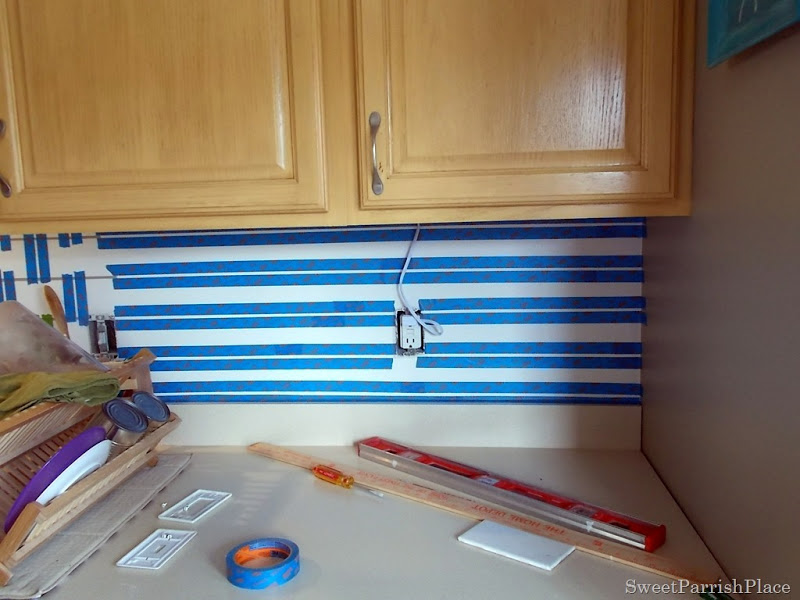 taping painted subway tile backsplash part 4