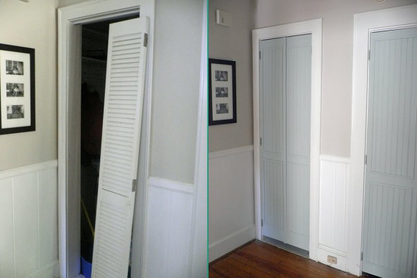 updated louvered biflod doors to a new look