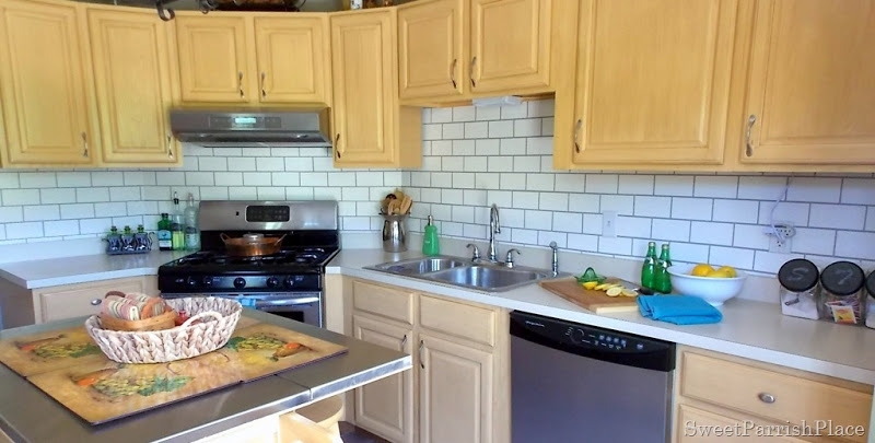 whole kitchen painted subway tile backsplash