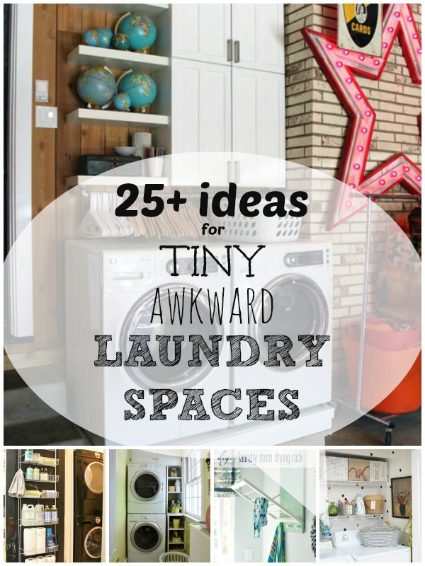 Small Laundry Solutions: Ideas for Your Tiny Awkward Laundry Space | Remodelaholic.com #laundrycloset #smallspace #inspiration @Remodelaholic