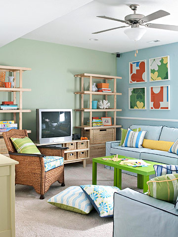 BHG colorful organized family room