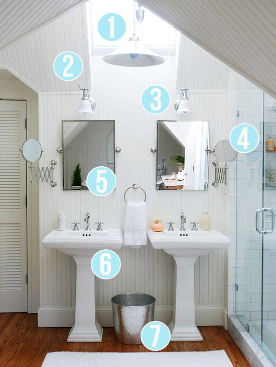 Get This Look - Bright White Double Vanity Bath - 7 tips from Remodelaholic