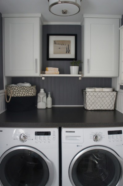 Half Bath Laundry Room With Beadboard Home With Baxter