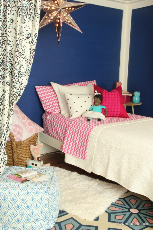 navy and pink bedroom remodelaholic etta s pink and navy bed nook 16497
