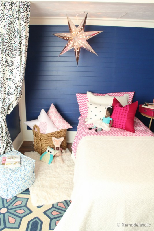 Pink and Navy Girls bedroom with bed nook-4