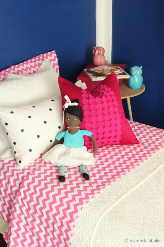 Pink and Navy Girls bedroom with bed nook-7