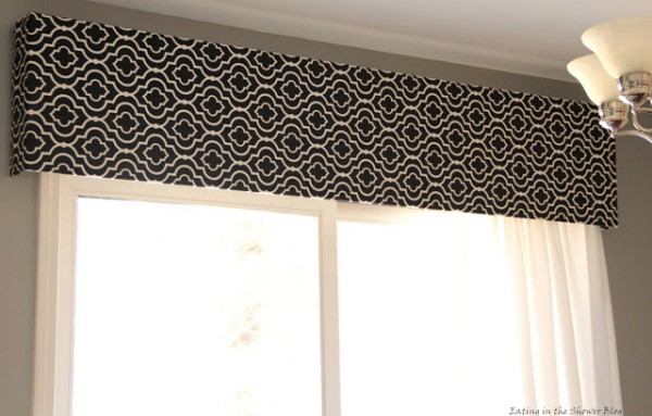 black and white graphic window boxes for the kitchen