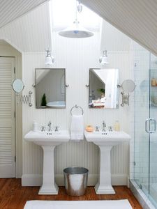 bright white bath for two