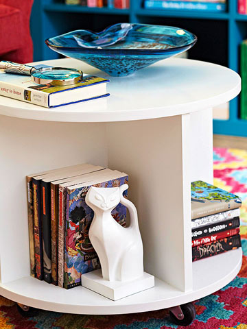 diy ottomans | build a circular bookshelf storage ottoman, BHG