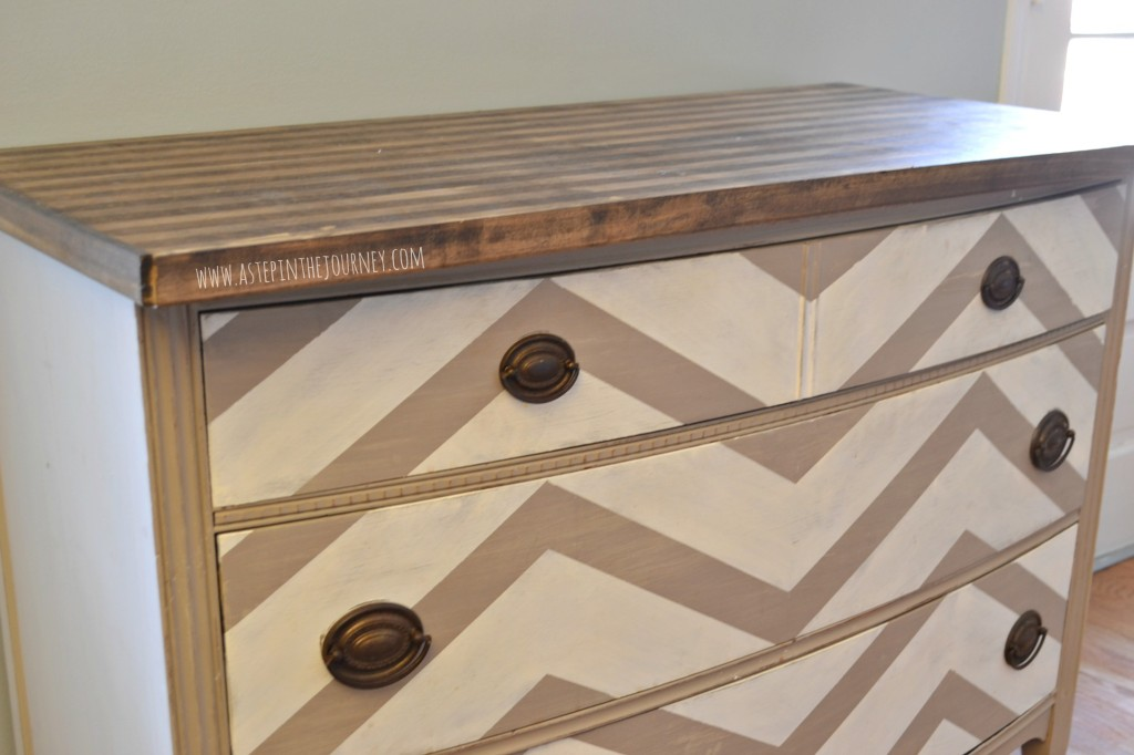 chevron painted furniture. Chevron Kitchen Buffet Dresser With Striped Butcher Block Top Painted Furniture B