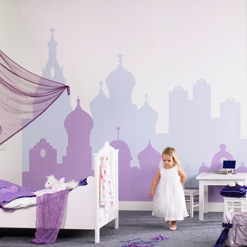 city painted wall mural for little girl