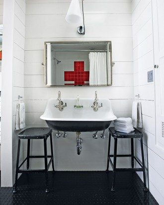double vanity sinks for small bathrooms. double sink bathroom  Martha Stewart Get This Look Bright White Double Vanity Bath Remodelaholic