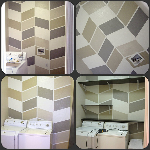 herringbone laundry room accent wall