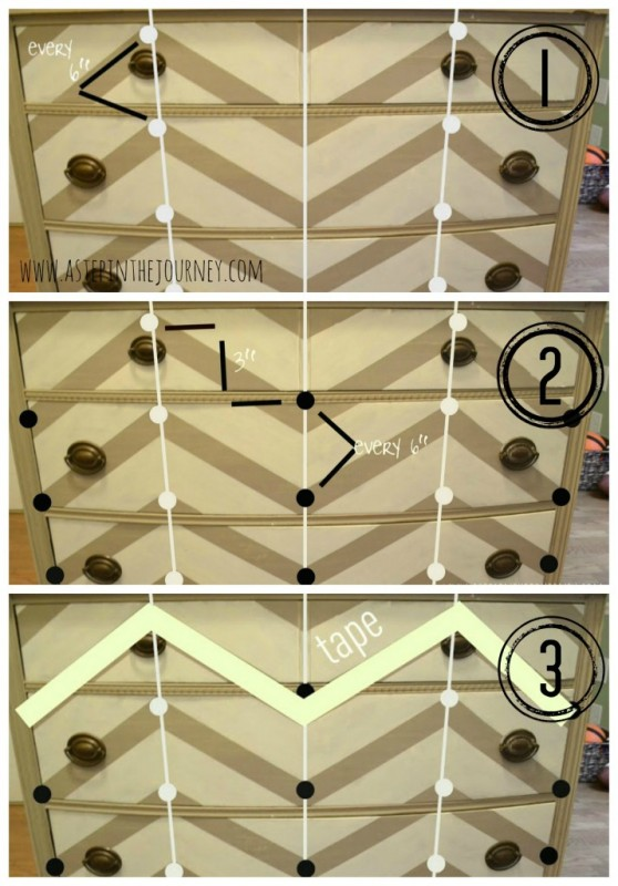 how to paint chevron stripes on a dresser