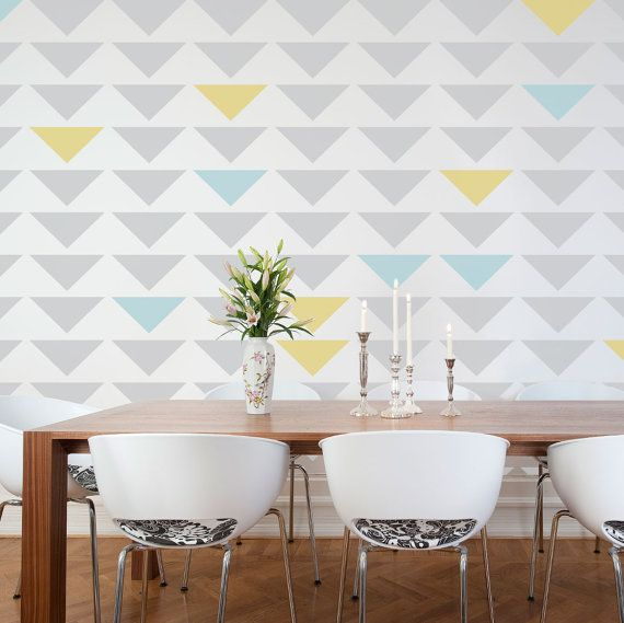 Nterior painting ideas triangle stencil for Images of interior painted walls