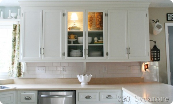 kitchen remodel, exposed cabinets and subway tile backsplash, 320 Sycamore