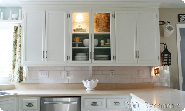 Fancy kitchen remodel exposed cabinets and subway tile backsplash Sycamore