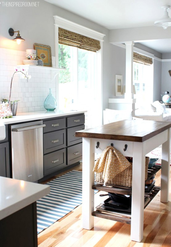 kitchen remodel, gray cabinets and bamboo shades, The Inspired Room