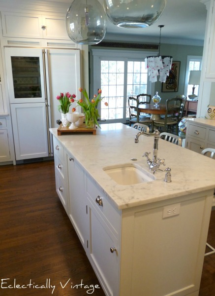 Popular kitchen remodel marble counters and built in storage Eclectically Vintage