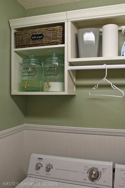 laundry closet makeover with hanging rod and cabinets, Kirsten Erickson
