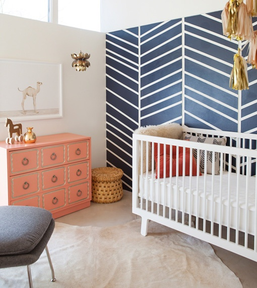 navy herringbone wall