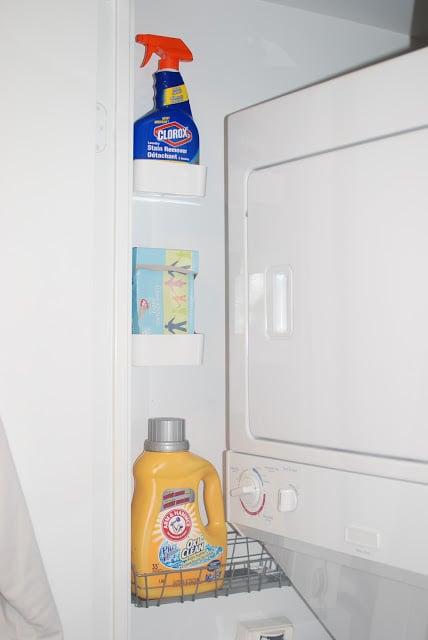 Organized Tiny Laundry Closet Waffling Design