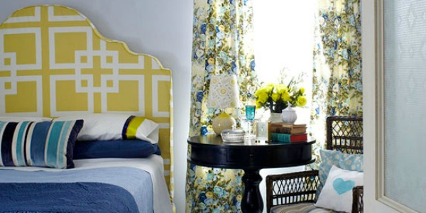 patterned master bedroom feature